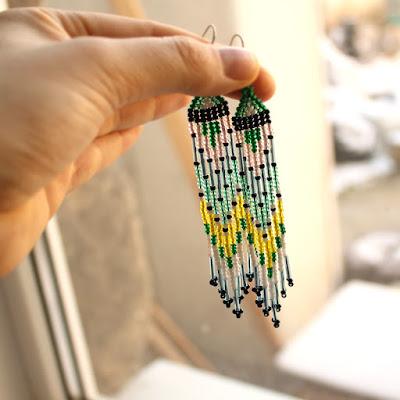 длинные серьги из бисера купить украшения в стиле бохо этно