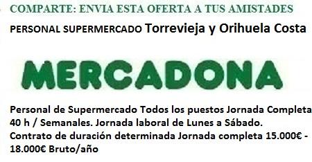 Torrevieja, Orihuela, Alicante, Lanzadera de Empleo Virtual. Oferta Mercadona