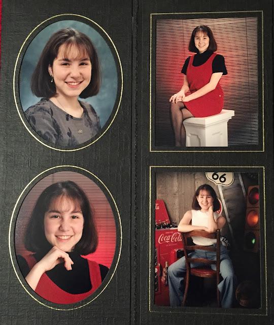 senior pictures, senior photos, 1990s, fashion, beauty, photo shoot, proofs, carpenter pants, mockneck tank, corduroy jumper, bangs, bob