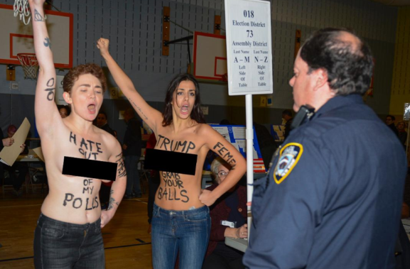 Two Unclad Ladies Protesting Against Donald Trump's Victory Arrested By Police (Pics)
