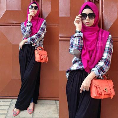 Kemeja Flanel Wanita Hijab 3