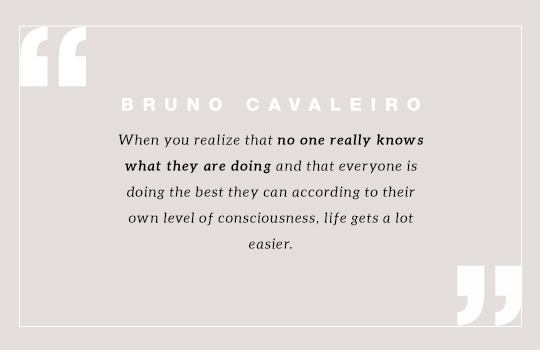 When you realize that no one really knows what they are doing and that everyone is doing the best they can according to their own level of consciousness, life gets a lot easier. Quote by Bruno Cavaleiro