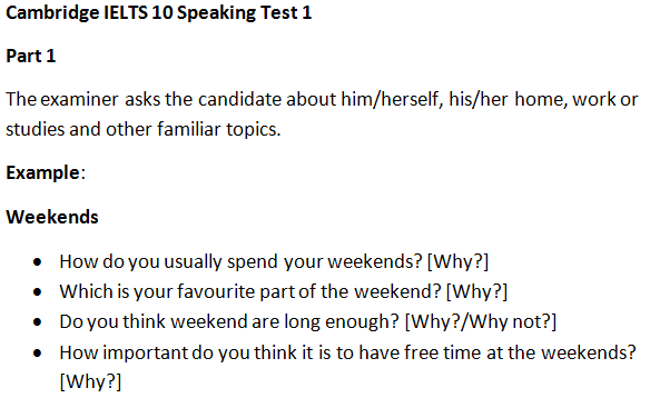 IELTS Speaking Topics | weekends