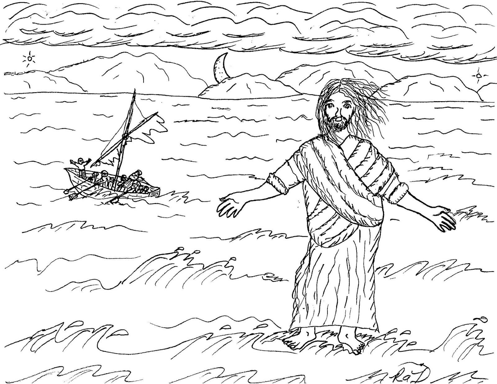 Robin S Great Coloring Pages Jesus Caminando Sobre El Agua