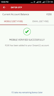 Rs.100 more on mobile number verification