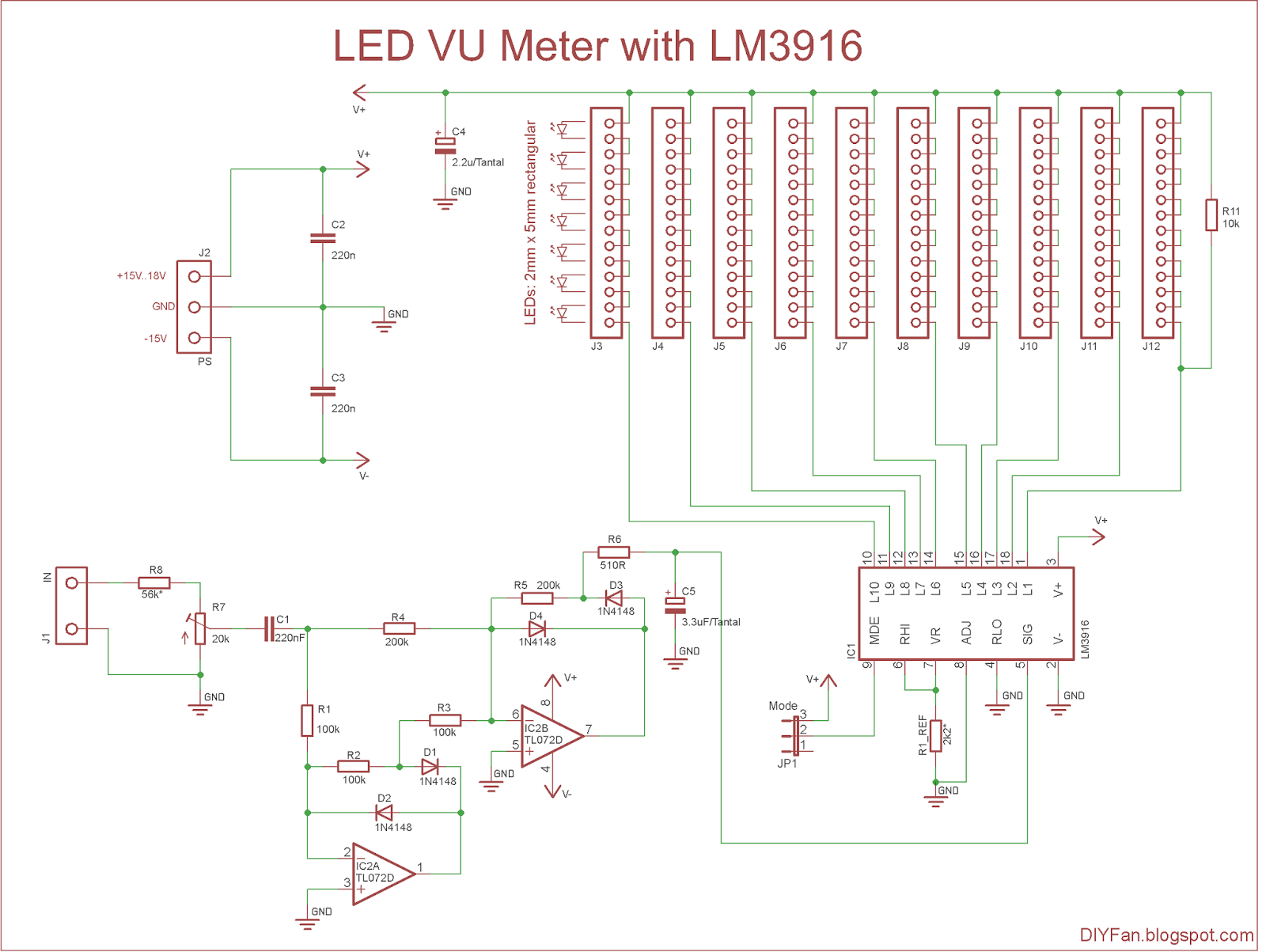 4 Wire Measurement Circuit Brain Model Diagram Diyfan Led Vu Meter With Lm3916