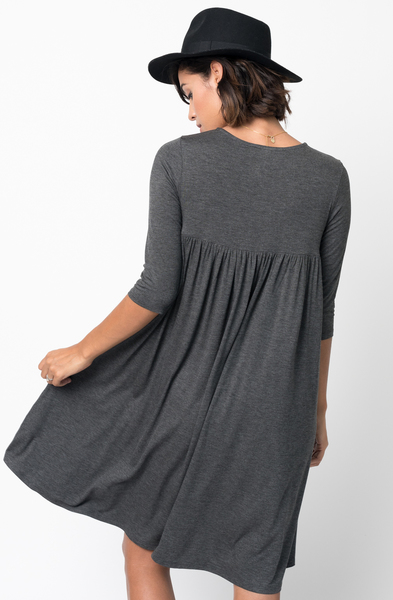 Shop for Charcoal Shirred Back Midi 3/4 sleeve jersey dress crew neck online on caralase.com