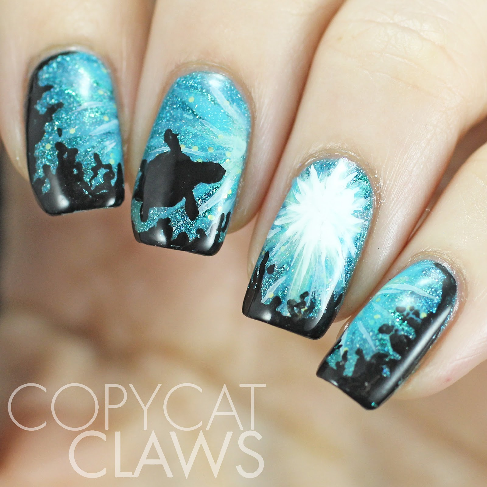 Copycat claws the digit al dozen does nature day 1 sea turtle i tried to add variety with a few other picture polishes sea jewel fools gold honeymoon and tiffany the black and white parts are acrylic paint prinsesfo Gallery