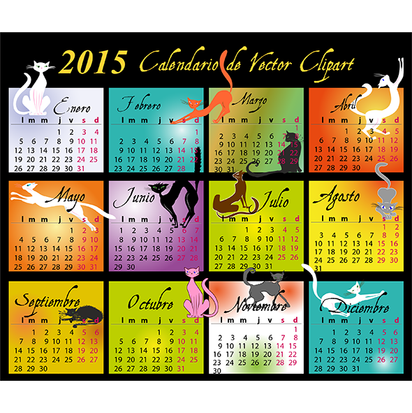 Calendario 2015 de gatos en español - vector