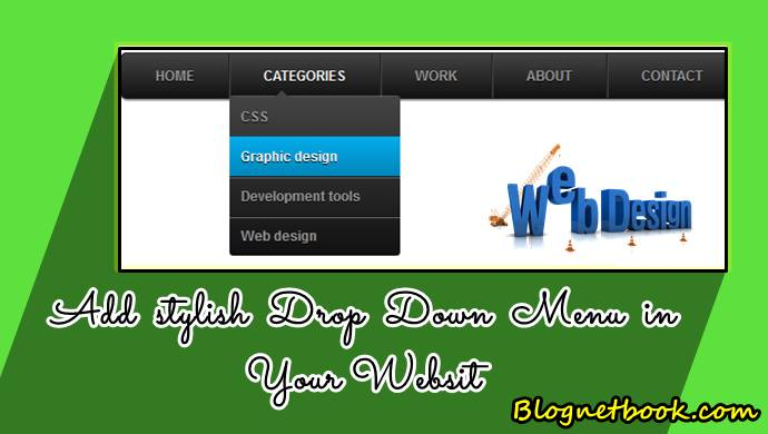 web design drop down menu for blog website
