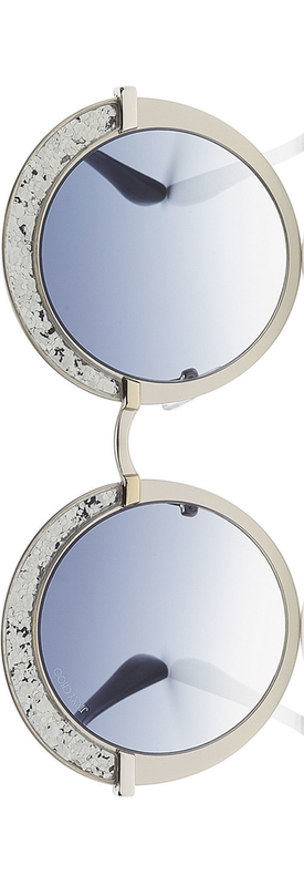 Jimmy Choo Gotha Nude Palladium and Glitter Round Framed Sunglasses