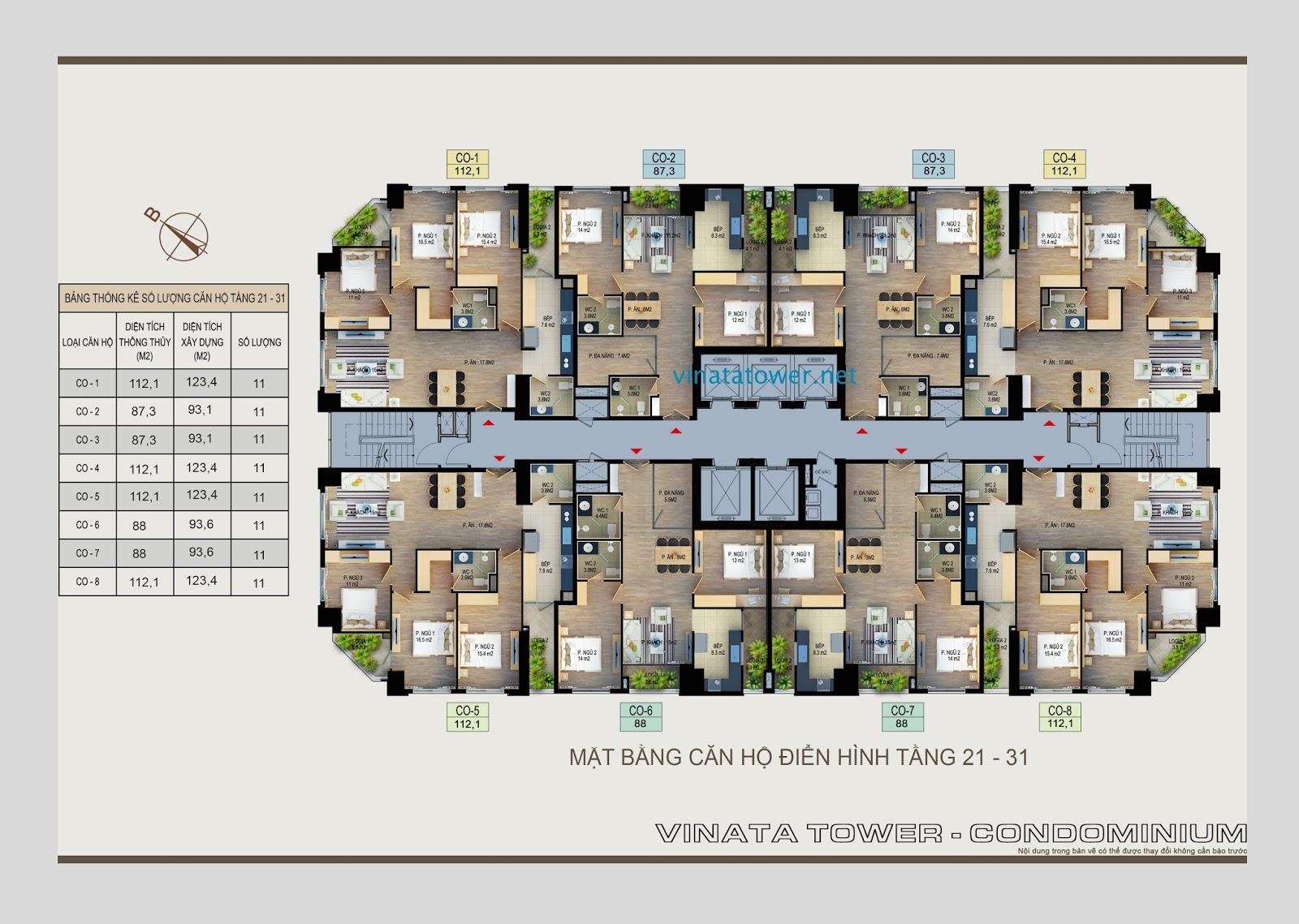 Mặt bằng tầng 21 đến tầng 31 chung cư Vinata Towers