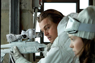 Leonardo DiCaprio as Cobb, Ellen Page as Ariadne in Inception, directed by Christopher Nolan
