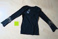 Rückseite: StyleDome Damen Spitze Langarm Kragen Runde Elastische Shirt Tops