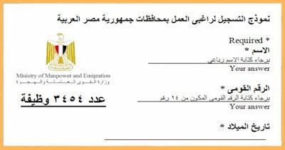 وظائف القوي العاملة 2017 ، 3454 وظيفة بالمحافظات للمؤهلات العليا والدبلومات وغيرهم حتى 30 / 9 / 2017
