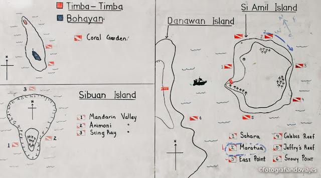 Mapa puntos inmersión buceo Si Amil