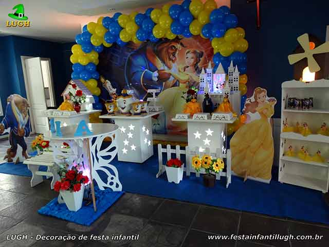 Mesa decorativa provençal tema A Bela e a Fera