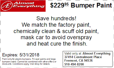 Discount Coupon $229.95 Bumper Paint Sale May 2018