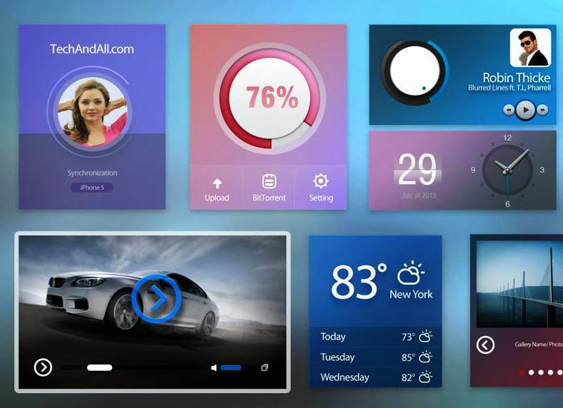 UI kit with Cold Colors .PSD