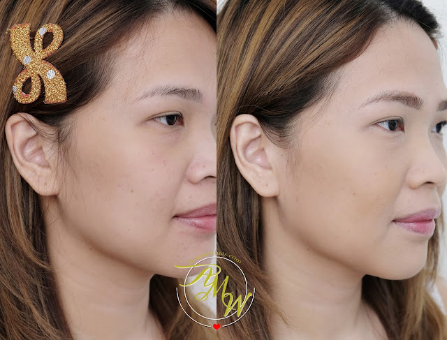 a before and after photo of Makeup World Cover|Up Pressed Powder Review by AskMeWhats Nikki Tiu