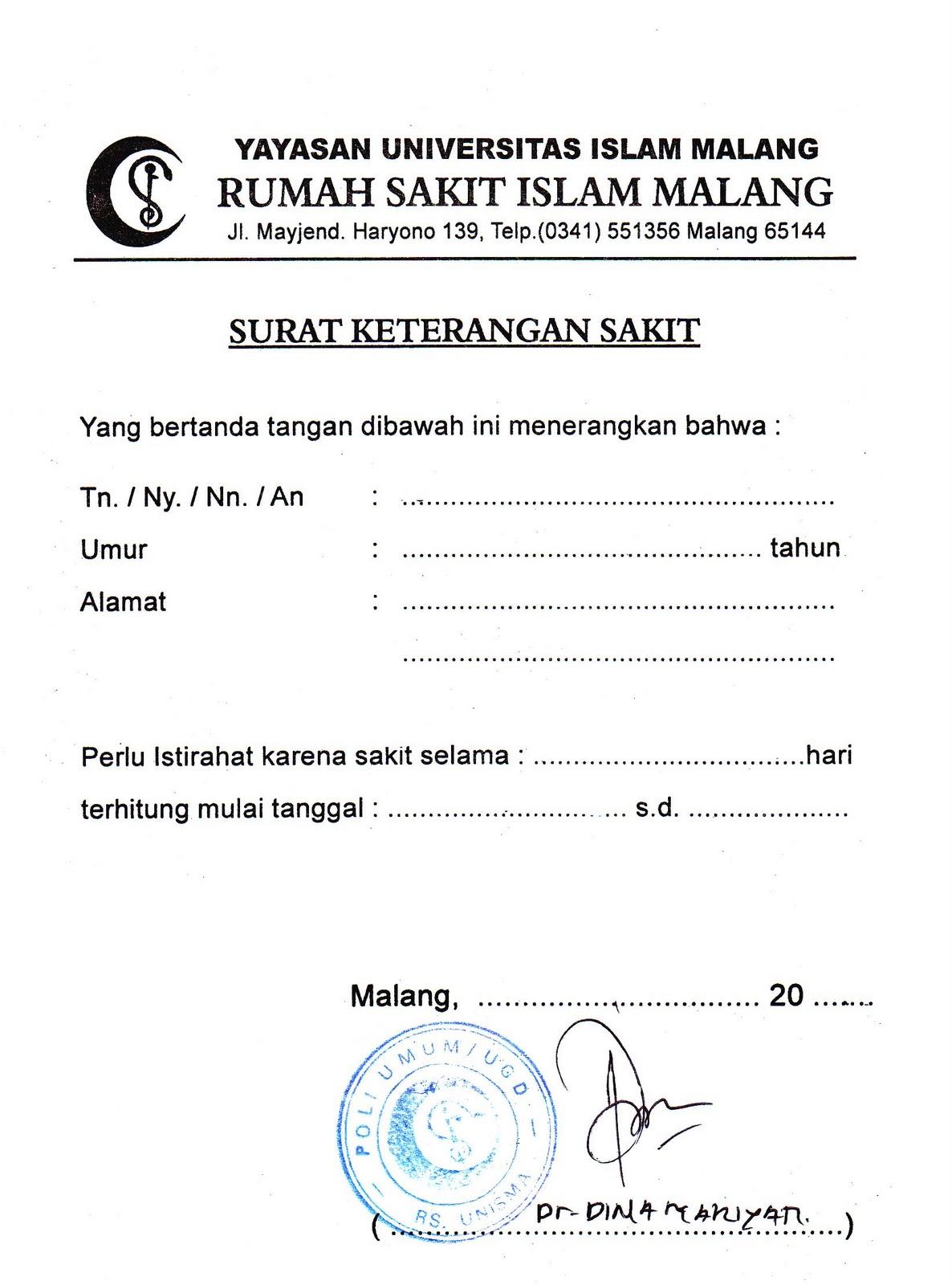 Contoh Surat Dokter Di Malang Surat 29