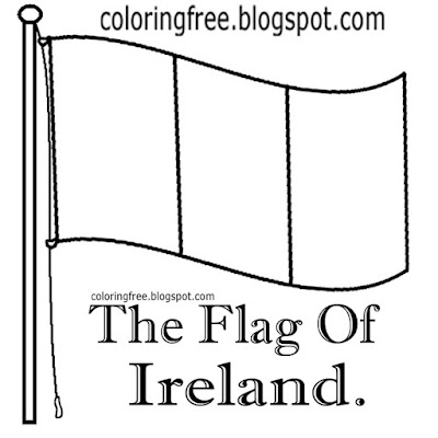 Simple pole flag of Ireland colouring book pictures Irish drawings for teenager's artwork printables