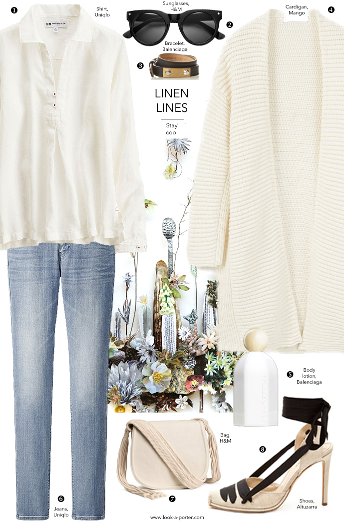 Styling denims, linen and neutral colours for a spring/summer outfit at www.look-a-porter.com style & fashion blog