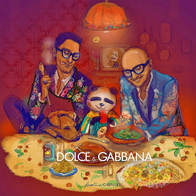 Supper with panda Benda, Souper, In Italy, Thanks giving supper, Christmas vibes, family portrait, having dinner with dogs and Dolce Gabbana, Italian cuisine, pasta, turkey chicken, fashion illustration