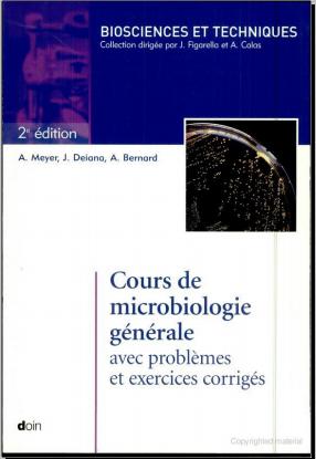 Livre : Cours de microbiologie générale avec problèmes et exercices corrigés