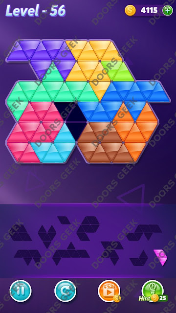 Block! Triangle Puzzle 10 Mania Level 56 Solution, Cheats, Walkthrough for Android, iPhone, iPad and iPod