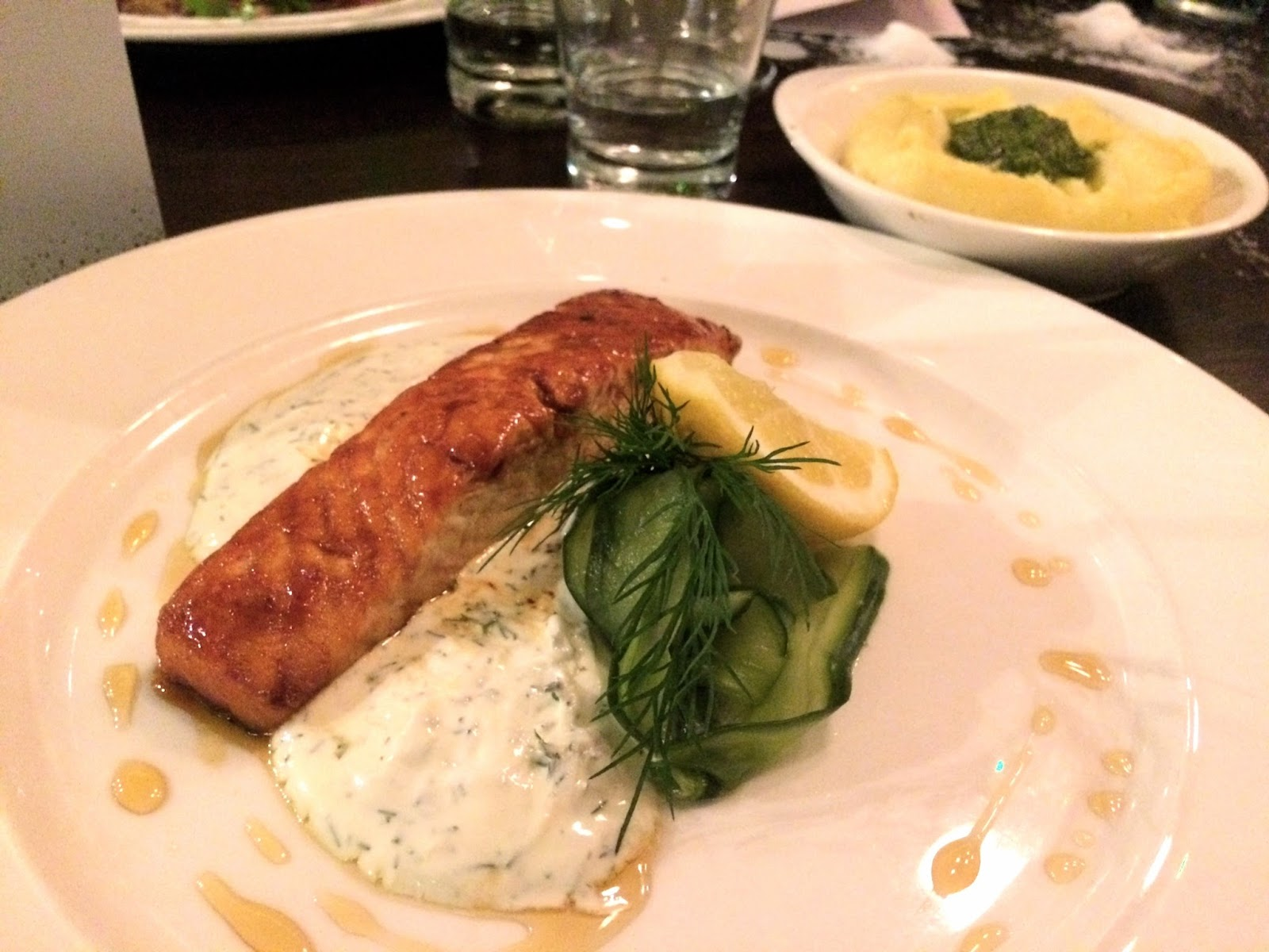 Salmon fillet meal at Gusto, Leeds