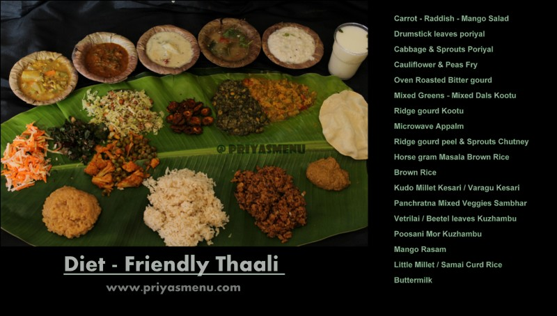 Priyas menu yum yum yummy food for food lovers millet kesari successfully completed my 100 days of diet recipes 100dietrecipes and its time for a virtual treat diet friendly thali for my friends forumfinder Gallery