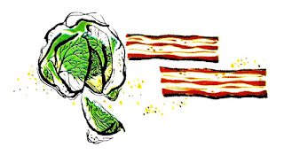 food cabbage bacon vintage illustration image