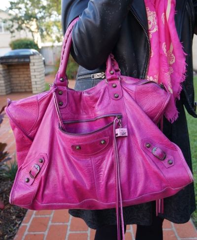 Away From The Blue blogger Balenciaga 2005 magenta work bag
