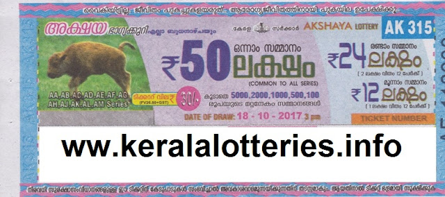 Akshaya lottery number AK-315 result on 18-10-2017