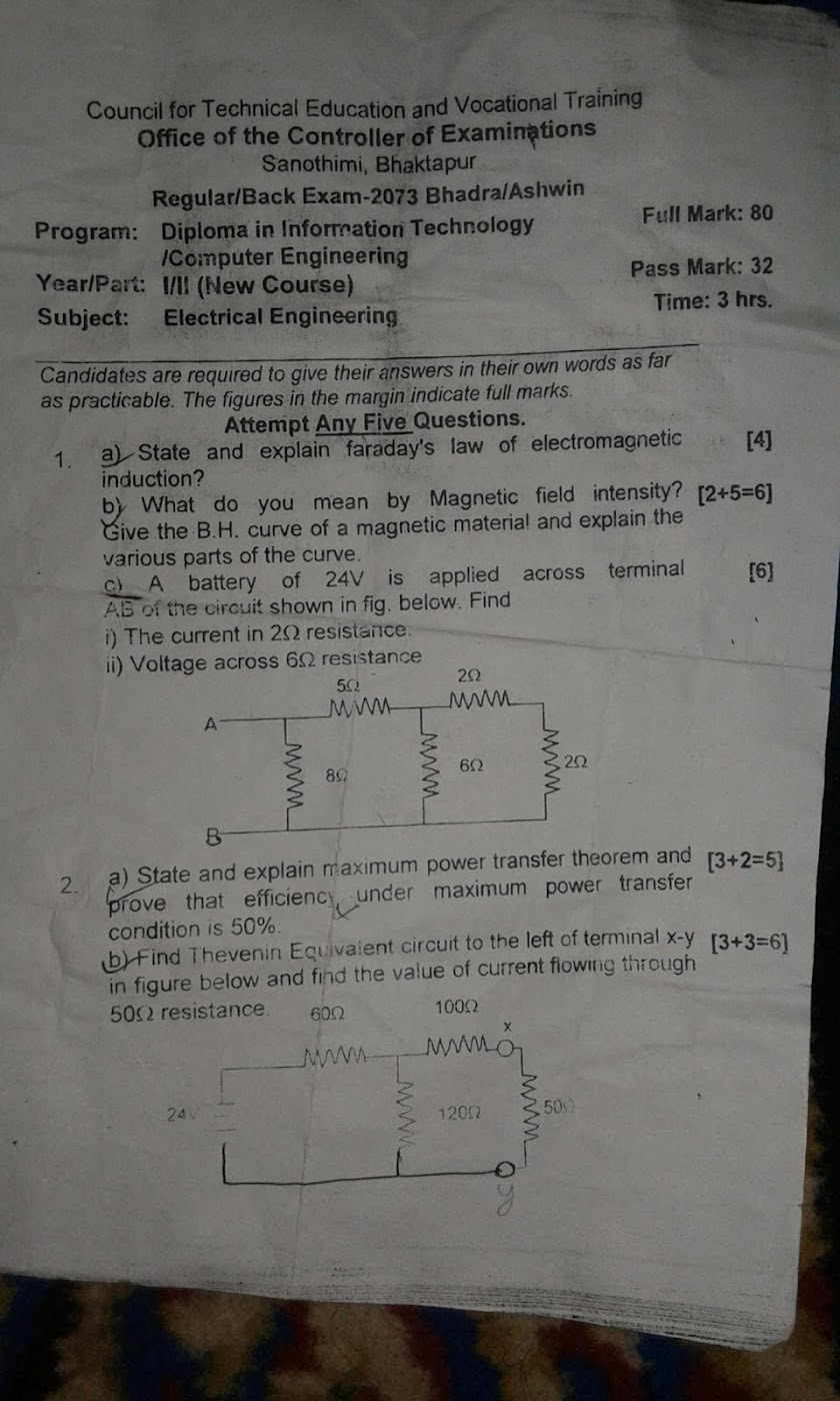 CTEVT | Electrical Engineering (New Course) | Question Paper 2073 | Diploma | 1st Year/2nd Part