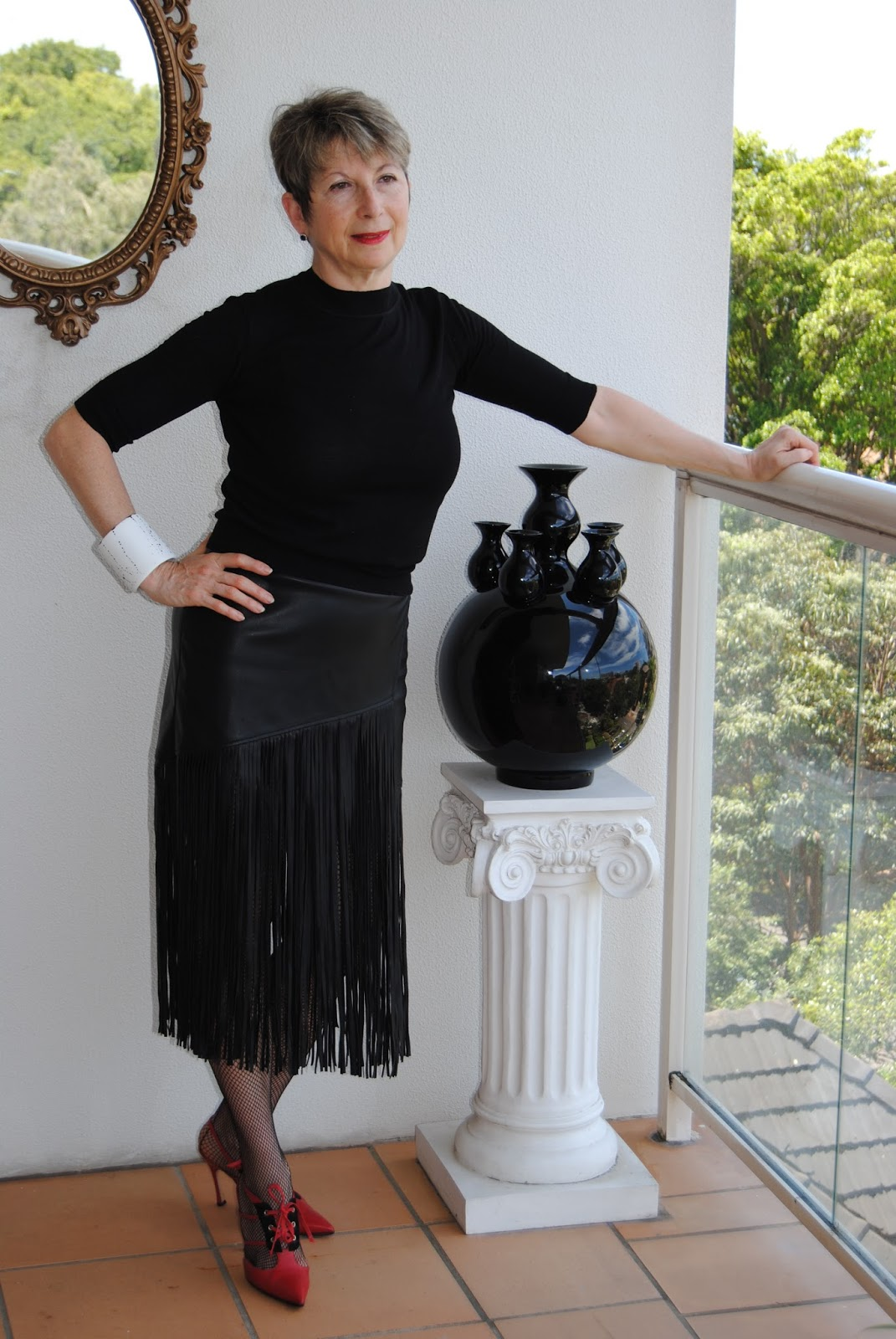 stockings skirt Mature leather