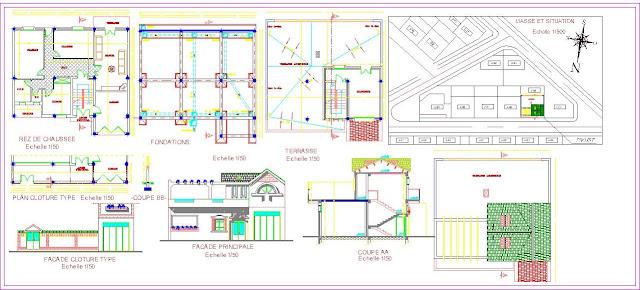 Engineering et architecture plan autocad d 39 une petite for Villa plan dwg
