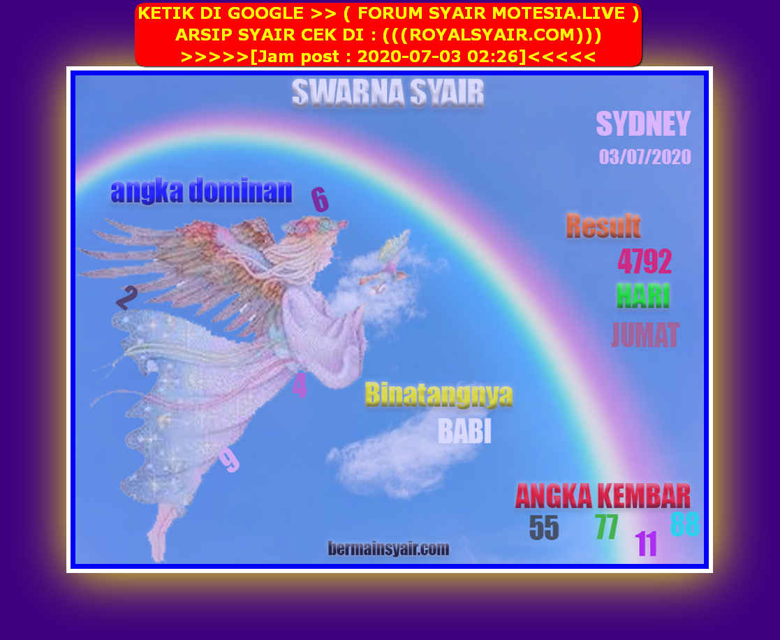 Kode syair Sydney Jumat 3 Juli 2020 213