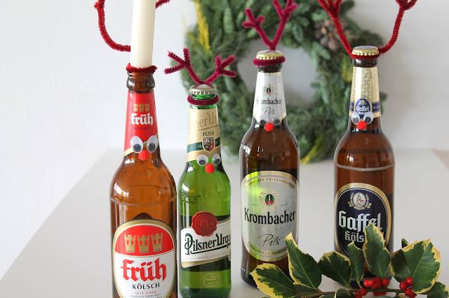 Kerze in die Bierflasche DIY Adventskranz Kerle Renbiere Jules kleines Freudenhaus