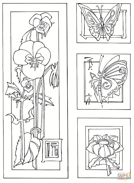 Click The Butterflies And Flowers Print Coloring Pages