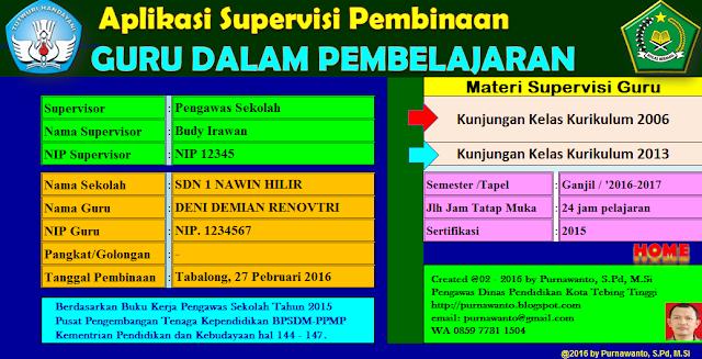 Aplikasi Kunjungan Kelas Supervisi KTSP Dan Kurikulum 2013 Terbaru