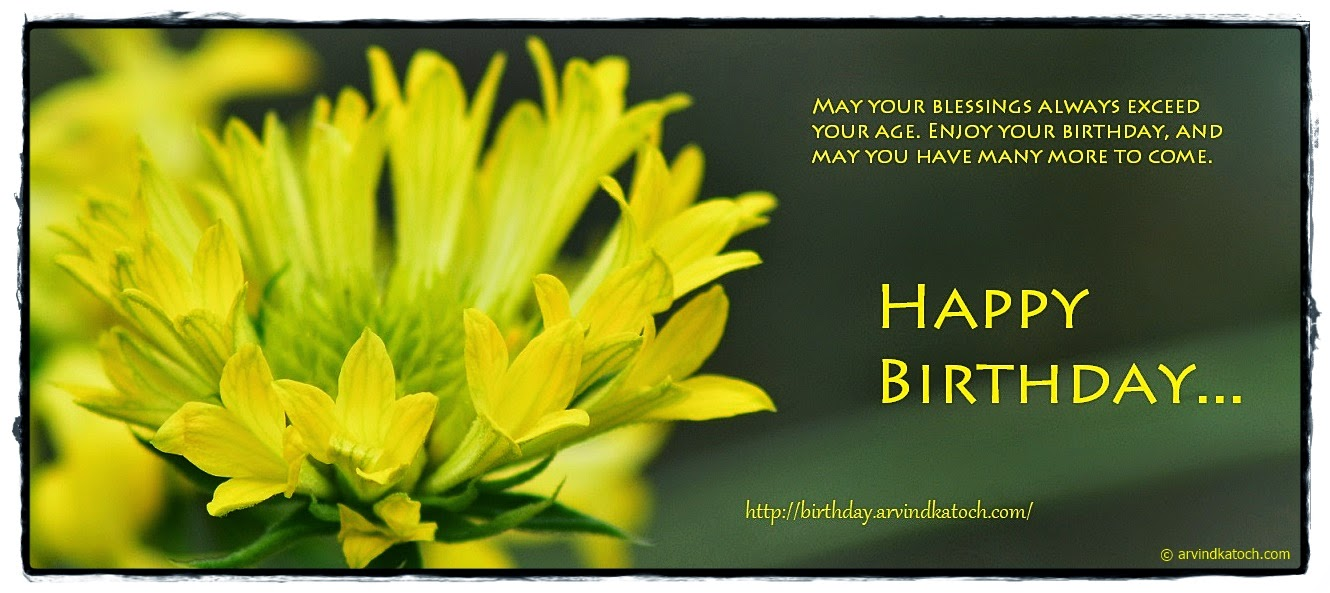 Happy Birthday, Yellow flowers, blessings, enjoy, Birthday card,