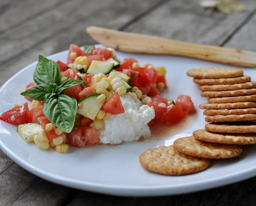 Creamy Ricotta with Tomato-Cucumber-Corn Salad, a simple late-summer, early-fall vegetable salad served with Homemade Ricotta. Tips, nutrition, WW points at Kitchen Parade.