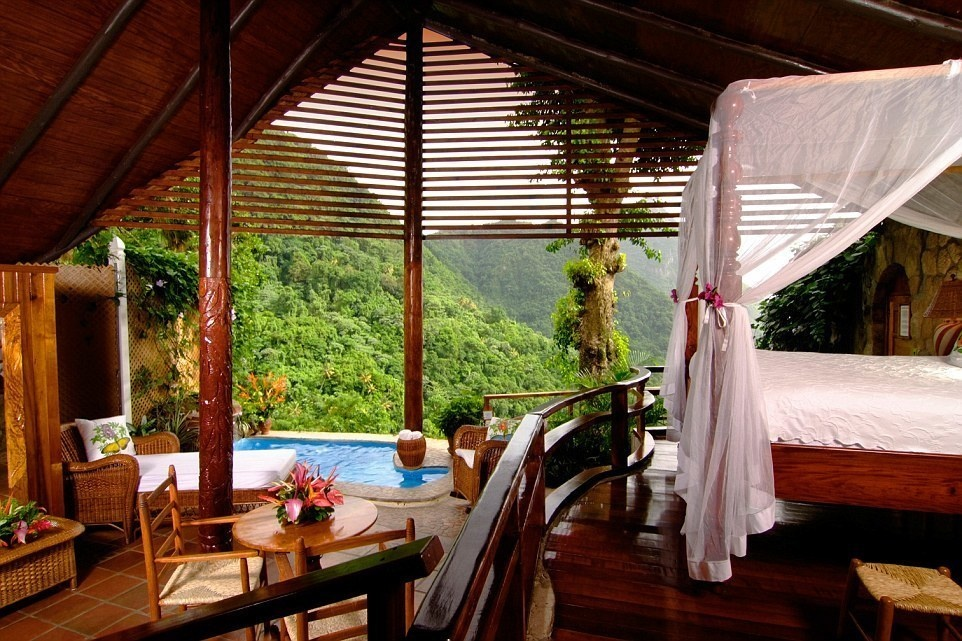 Ladera, Saint Lucia - 15 Incredible Hotel Rooms Where You Can Sleep Under The Stars.