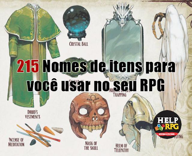 215 Nomes de itens para você usar no seu RPG