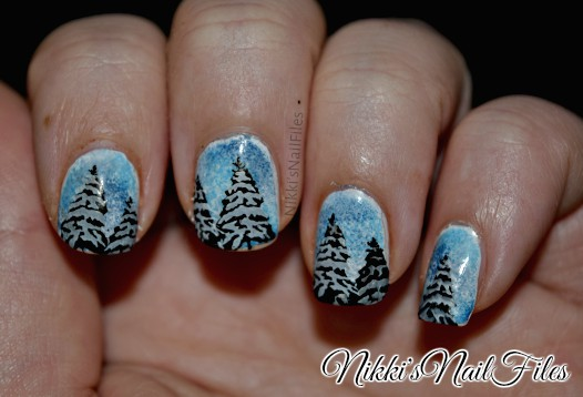 snowy trees manicure
