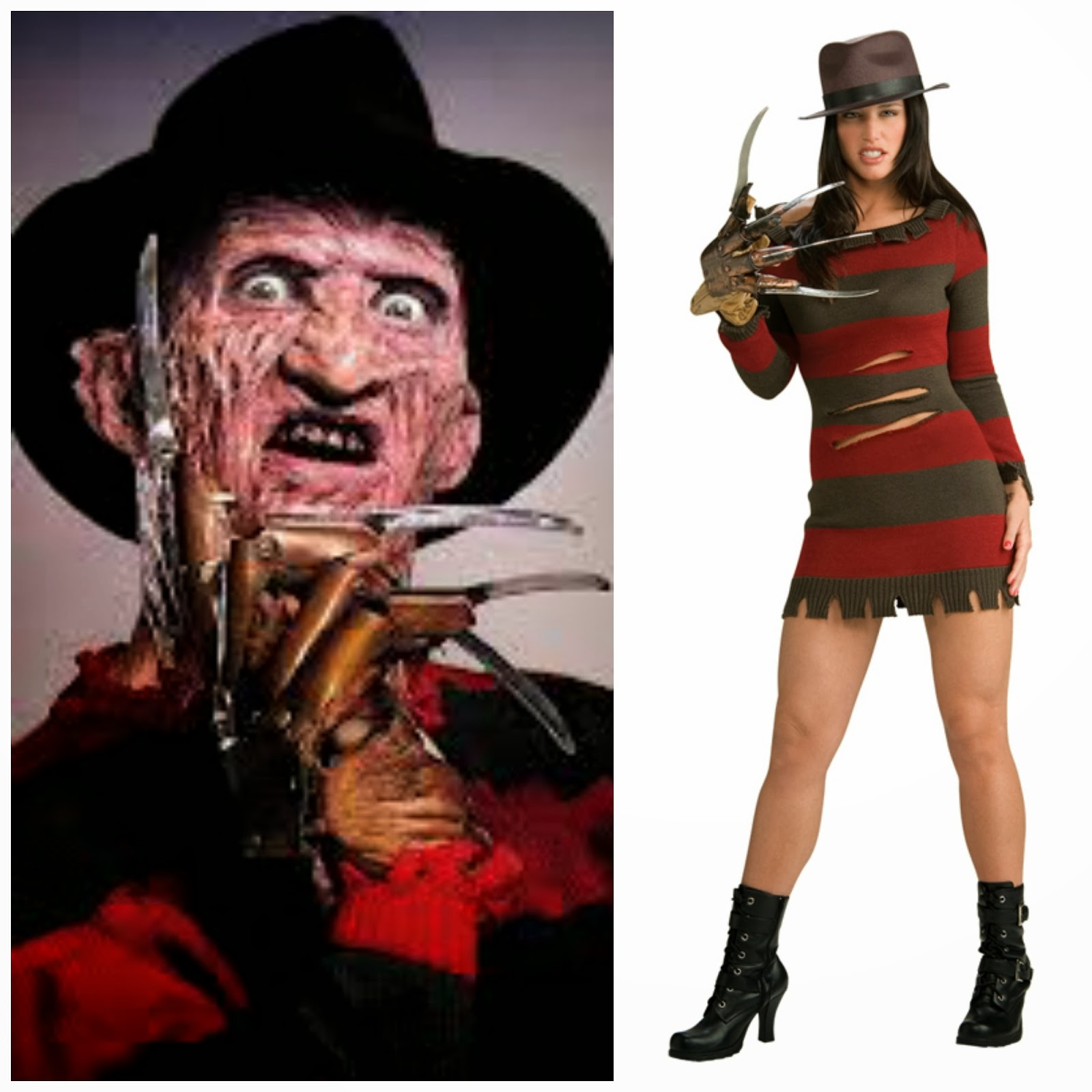 Female Freddy Krueger Outfit, Fancy Dress, Freddy Krueger Fancy Dress, Horror Fancy Dress