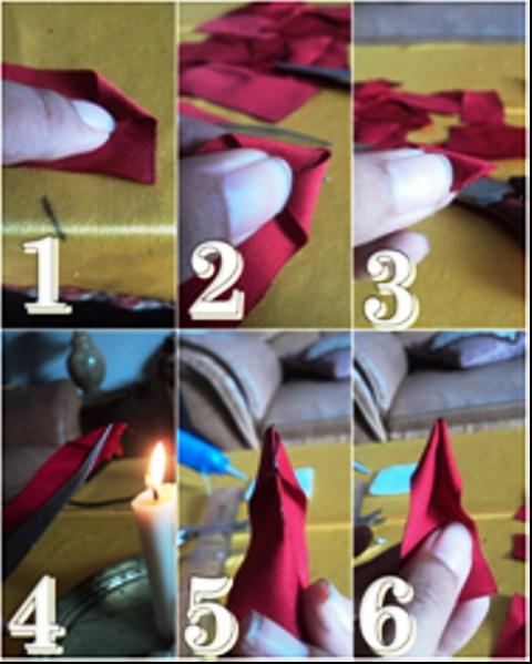 cara membuat daun bunga dari kain pakai lilin