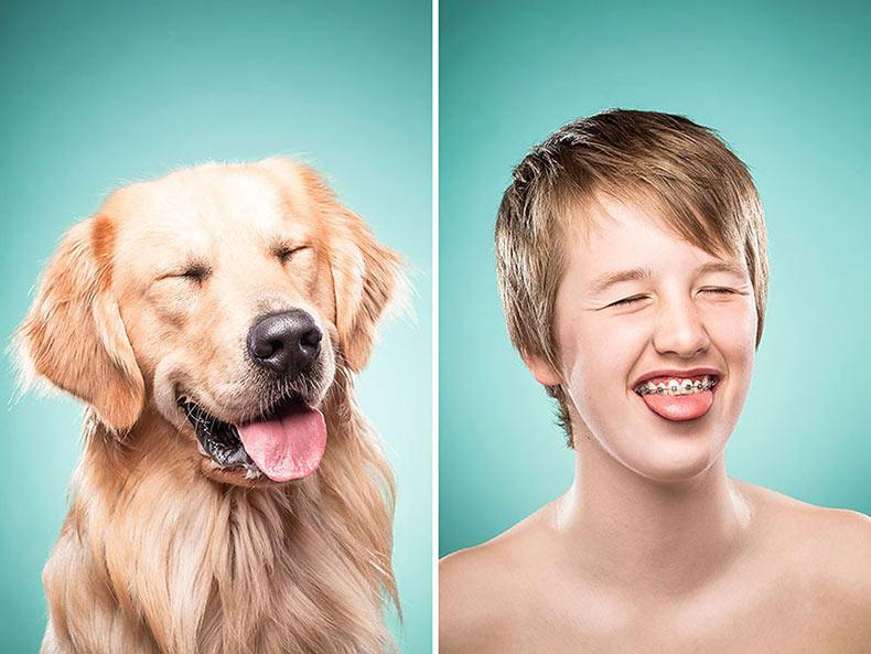 Fotógrafa captura a dueños de perros imitando a sus mejores amigos